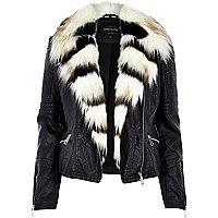 Black leather-look fun faux-fur biker jacket