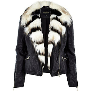 Black leather-look fun faux-fur biker jacket