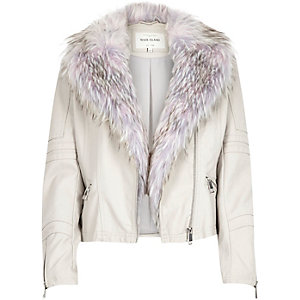 Cream faux-fur biker jacket