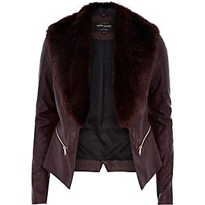 Red leather-look faux fur biker jacket