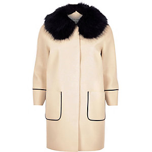 Cream ladylike faux fur collar coat