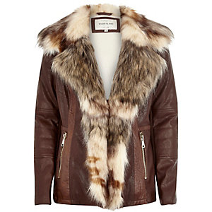 Brown leather-look faux fur trim jacket