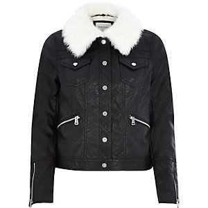 Black leather-look borg collar jacket