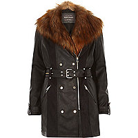 Black leather-look faux fur trench coat