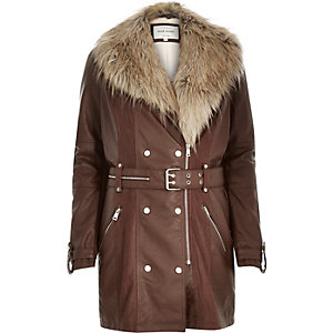 Brown leather-look faux-fur trench coat