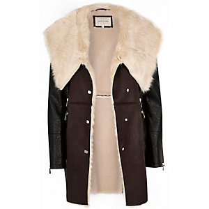 Dark brown faux sheepskin coat