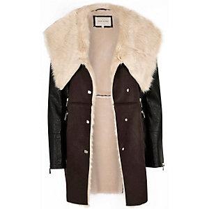 Dark brown faux sheepskin coat