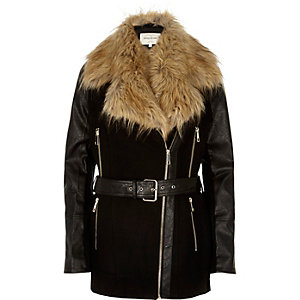 Black faux-fur collar winter coat