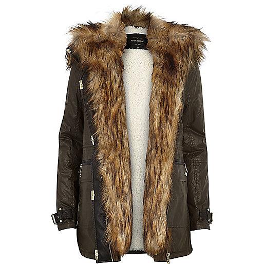 Khaki Parka Jacket For Women