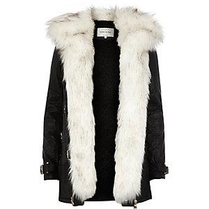 Black faux fur trim parka jacket
