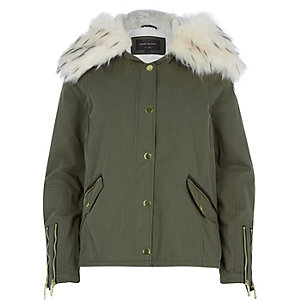 Khaki faux-fur trim parka jacket