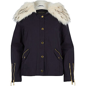 Navy short parka jacket