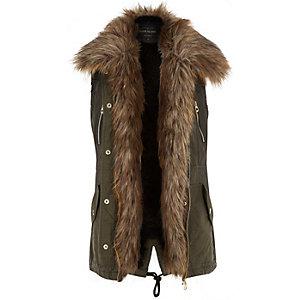 Khaki faux fur lined gilet