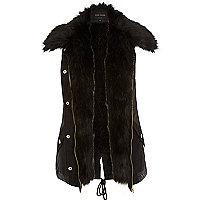 Black faux fur lined gilet
