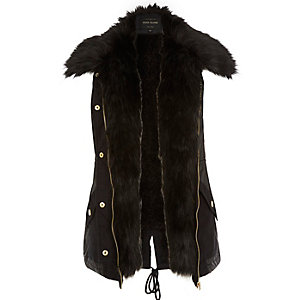 Black faux fur lined gilet