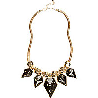 Black flecked stone statement necklace