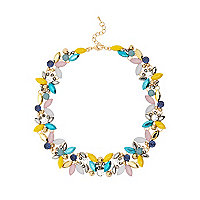 Yellow colourful mixed gem necklace