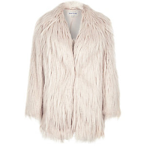 Light pink faux fur shaggy coat