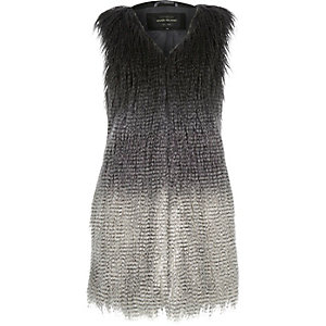 Grey faded longline faux-fur gilet