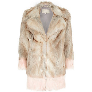 Cream colour block faux-fur coat