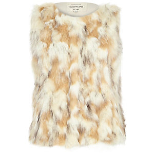 Cream patchwork faux fur gilet