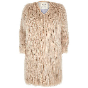 Cream premium shaggy faux-fur coat