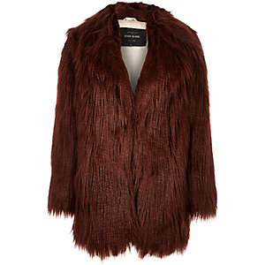 Brown shaggy faux-fur coat