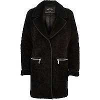 Black soft borg overcoat