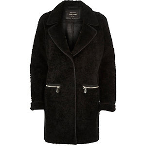 Black soft borg overcoat