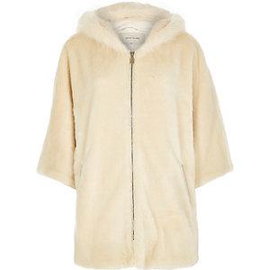 Cream faux-fur cape
