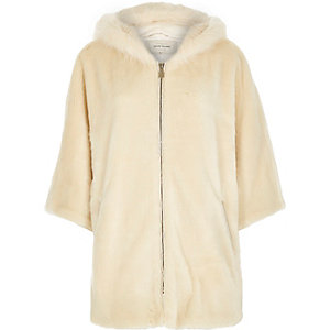 Cream faux fur cape