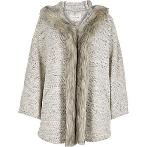 Beige jersey faux-fur trim cape
