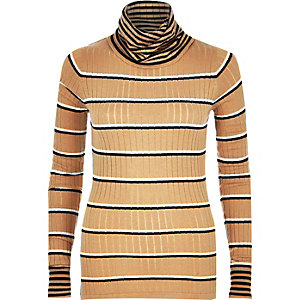 Beige stripe lightweight roll neck knit
