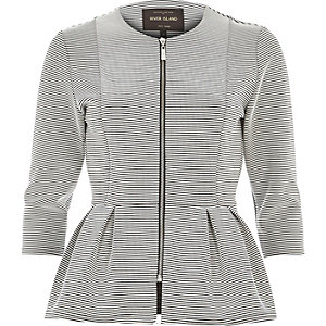 White striped jersey peplum jacket