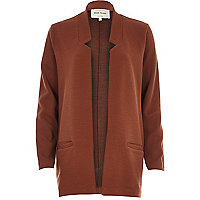 Brown jersey inverse collar blazer jacket