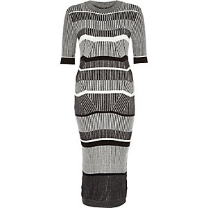 Grey stretch knitted stripe dress