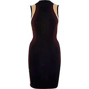 Black block colour knitted bodycon dress