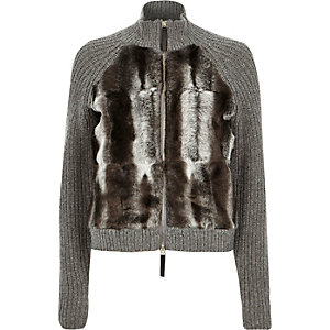 Grey knitted faux fur front jacket