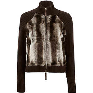 Brown knitted faux fur front jacket