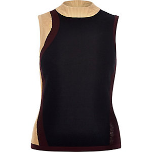 Black block color knitted sleeveless top