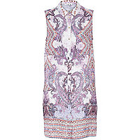 Purple paisley print longline shirt