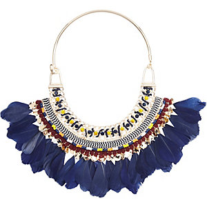 Gold statement feather necklace