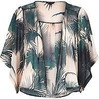 Khaki palm tree print kimono