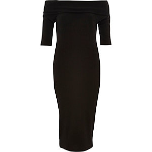 Black ribbed bardot bodycon dress