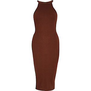 Copper ribbed bodycon midi dress