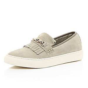Beige fringe and chain chunky sole plimsolls