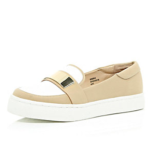 Tan sporty slip on loafers
