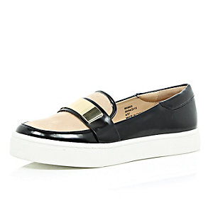 Black sporty slip on loafers