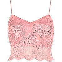 Pink lace crop bralet