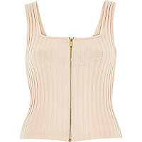 Light pink ribbed zip front top